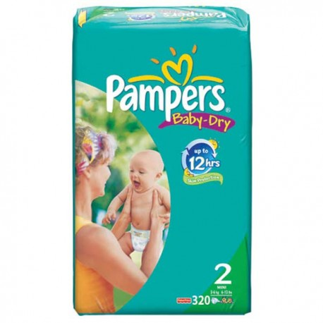 320 Couches Pampers Baby Dry Taille 2 En Solde Sur Choupinet