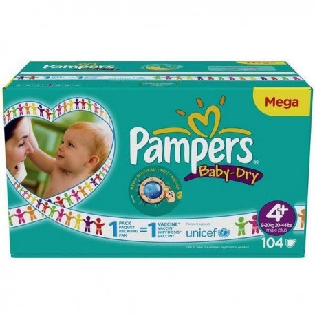 104 Couches Pampers Baby Dry Taille 4 A Petit Prix Sur Choupinet