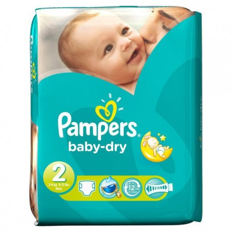 42 Couches Pampers Baby Dry Taille 2 En Promotion Sur Choupinet
